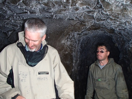Max Holmes and Sasha Kholodov amazed by their tour of the permafrost tunnel.