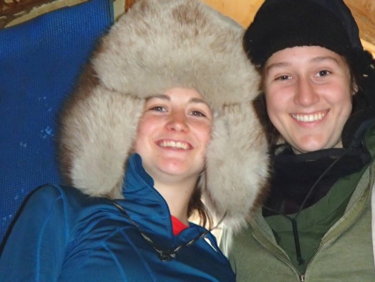 Dylan (left) and Lindsey sport winter fur hats