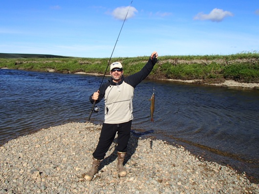 Mark catches his second Arctic Grayling