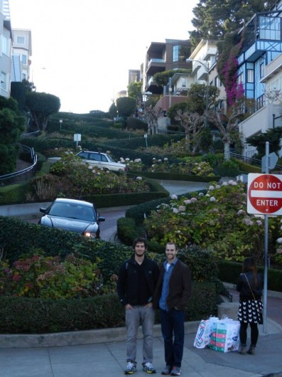 Sam and I at the base of the famous zig-zaging Lombard St. in San Francisco.