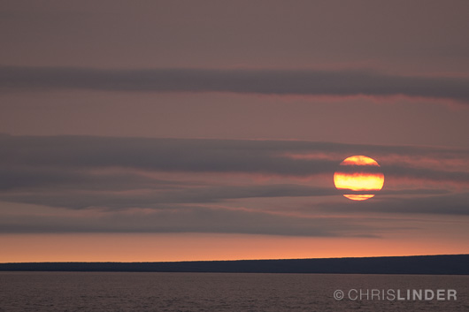 Sunset over the Kolyma River as the barge steams south back to Cherskiy.