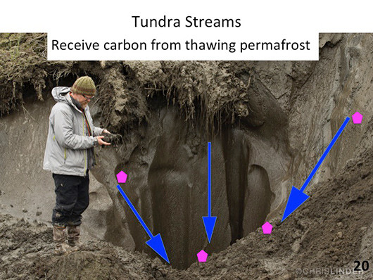 Slide from my ACS talk showing thawing permafrost at Duvannyi Yar (photo © Chris Linder).